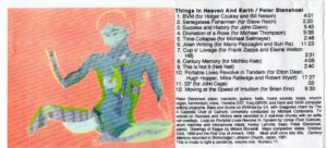 Inside painting by Miriam Stonehill and liner notes of Things In Heaven and Earth.